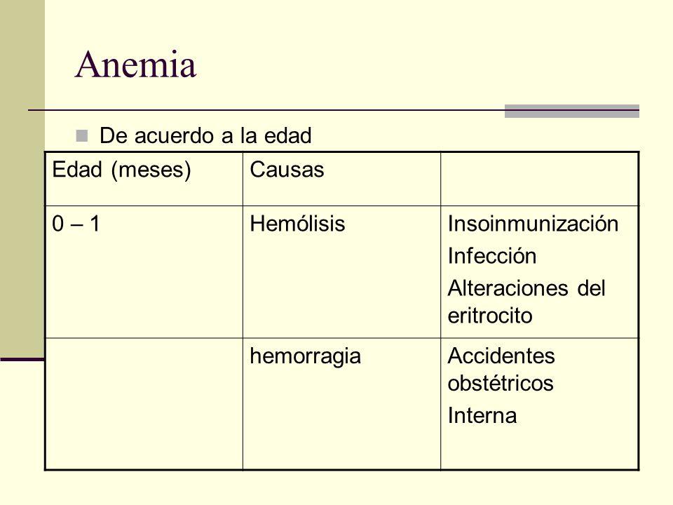 Anemia De acuerdo a la edad Edad (meses) Causas 0 – 1 Hemólisis