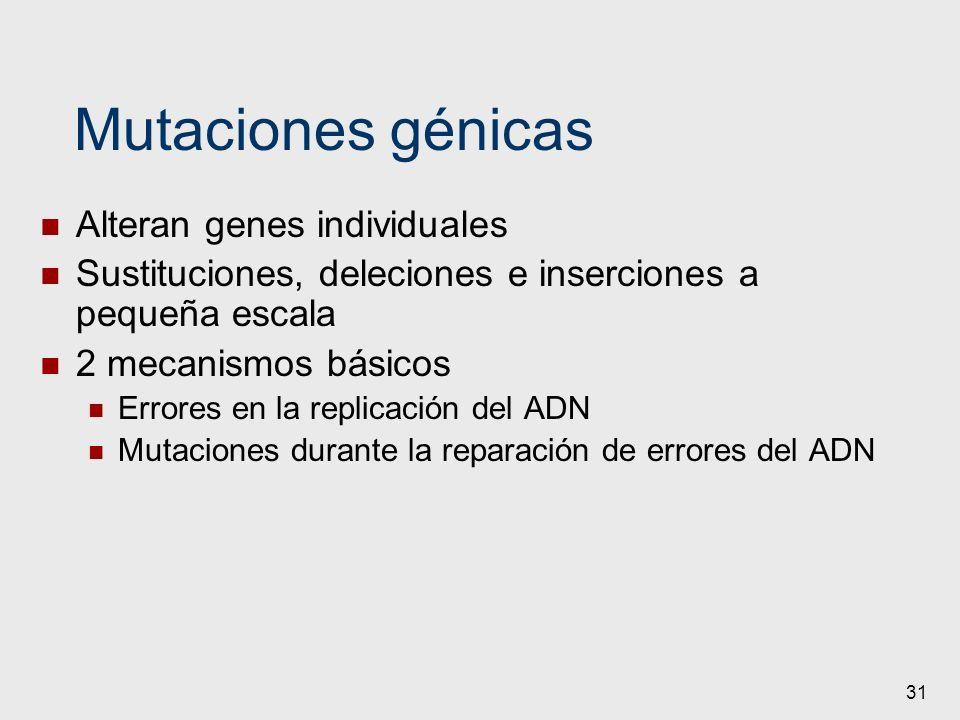Mutaciones génicas Alteran genes individuales