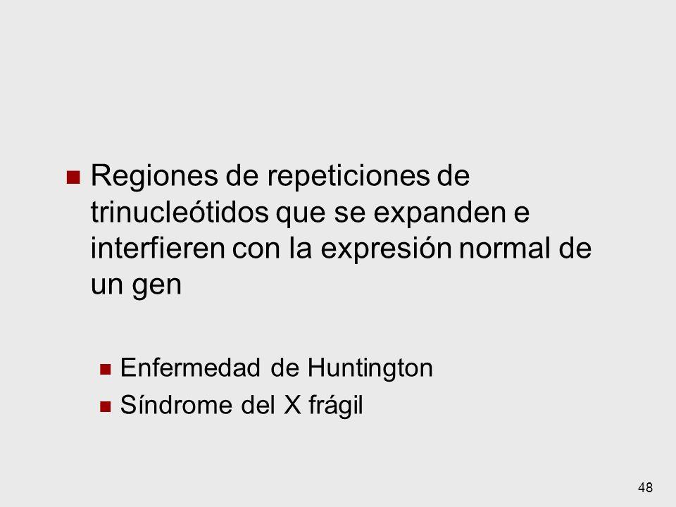 Regiones de repeticiones de trinucleótidos que se expanden e interfieren con la expresión normal de un gen
