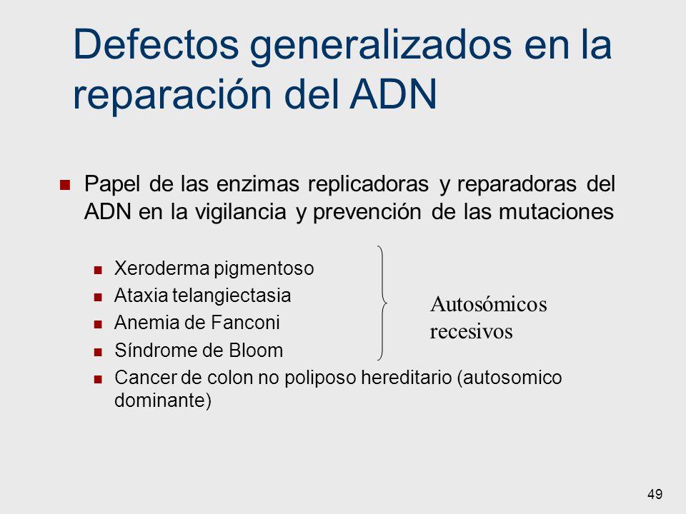 Defectos generalizados en la reparación del ADN