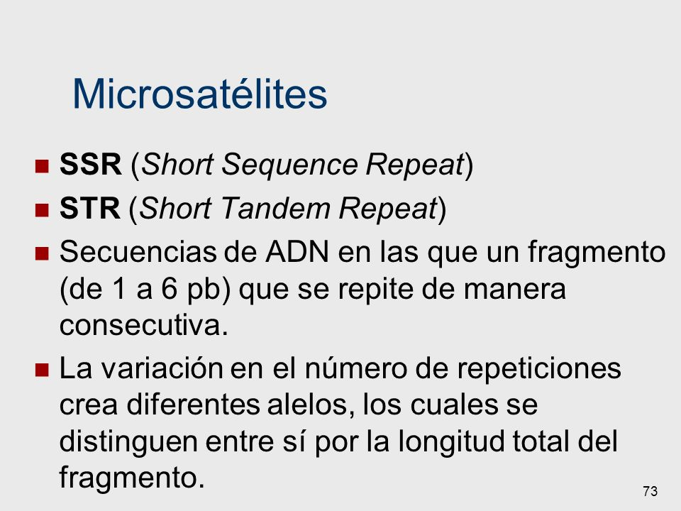 Microsatélites SSR (Short Sequence Repeat) STR (Short Tandem Repeat)