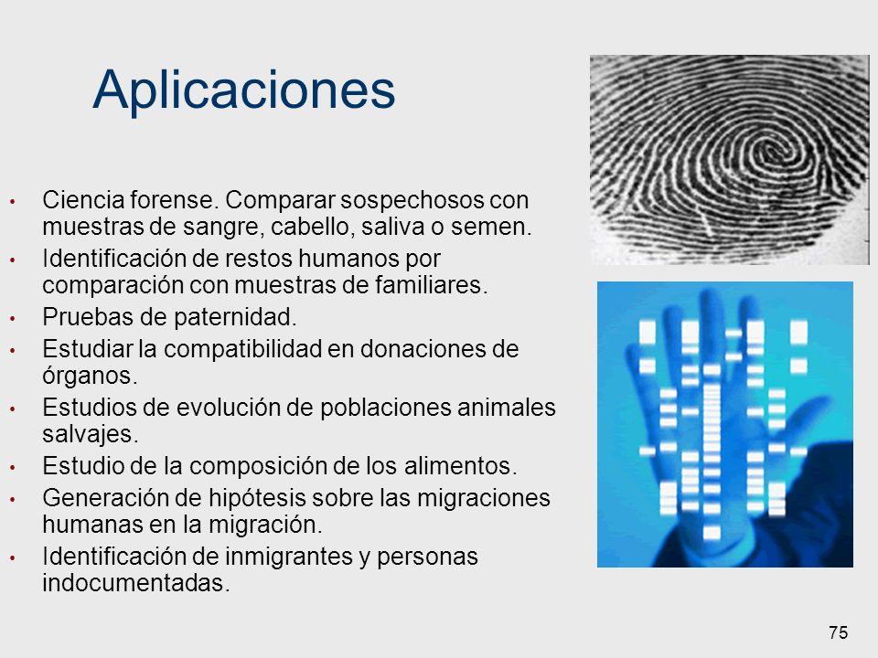 AplicacionesCiencia forense. Comparar sospechosos con muestras de sangre, cabello, saliva o semen.