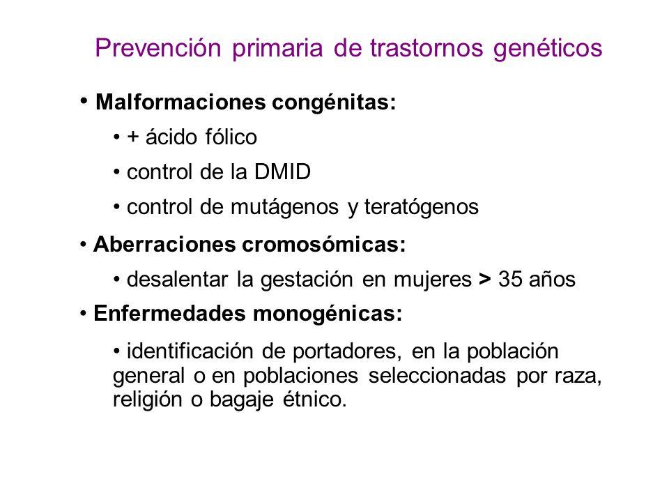 Prevención primaria de trastornos genéticos