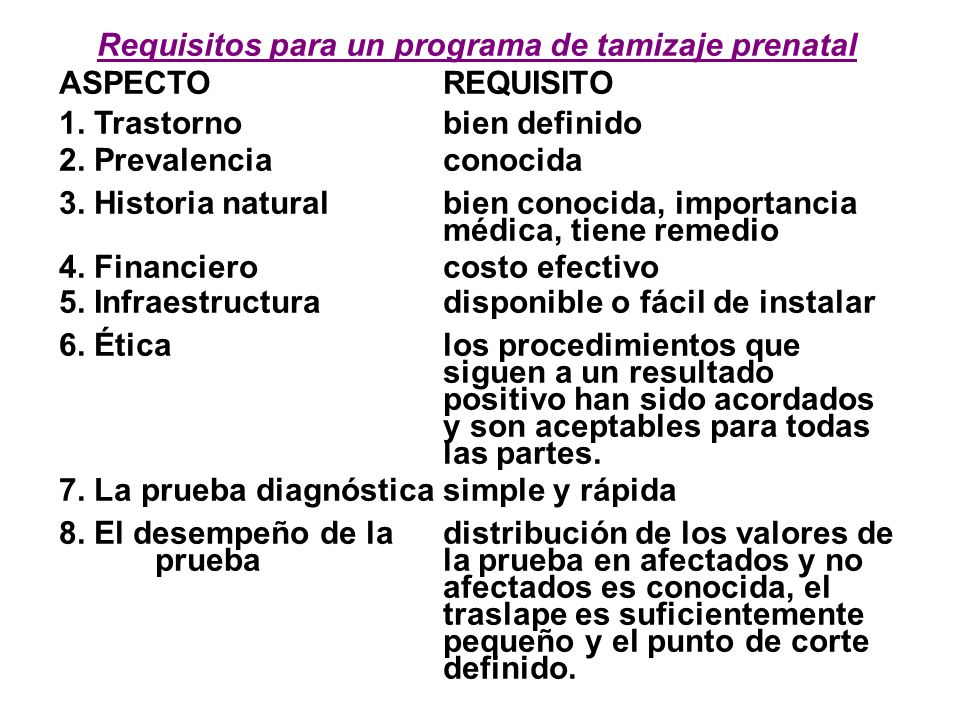 Requisitos para un programa de tamizaje prenatal