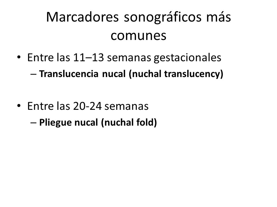 Marcadores sonográficos más comunes