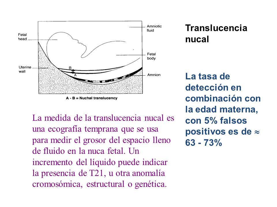 Translucencia nucal La tasa de detección en combinación con la edad materna, con 5% falsos positivos es de  63 - 73%
