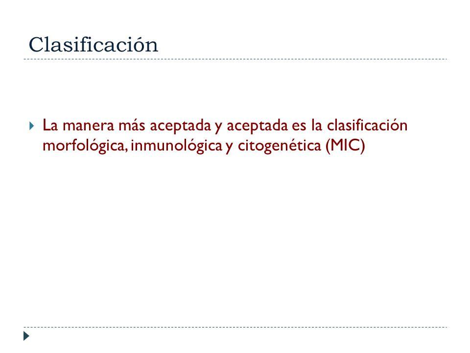 ClasificaciónLa manera más aceptada y aceptada es la clasificación morfológica, inmunológica y citogenética (MIC)