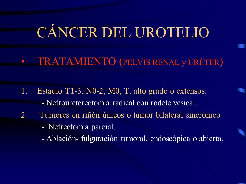 CÁNCER DEL UROTELIO TRATAMIENTO (PELVIS RENAL y URÉTER)
