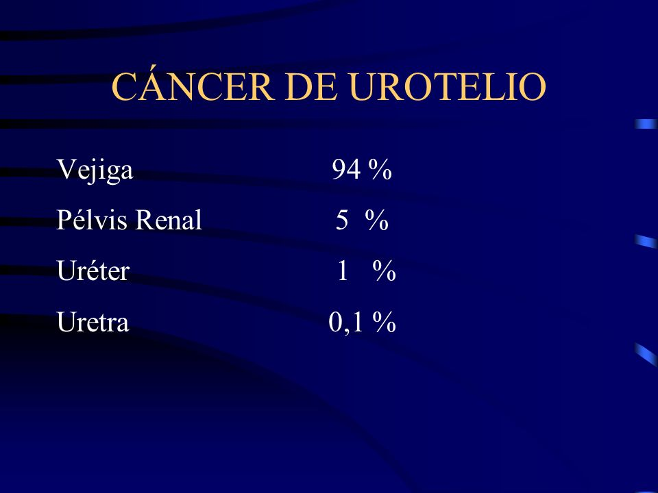 CÁNCER DE UROTELIO Vejiga 94 % Pélvis Renal 5 % Uréter 1 %