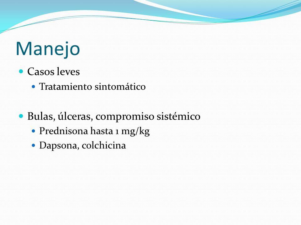 Manejo Casos leves Bulas, úlceras, compromiso sistémico