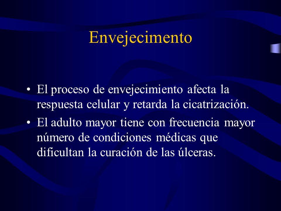 Envejecimento El proceso de envejecimiento afecta la respuesta celular y retarda la cicatrización.