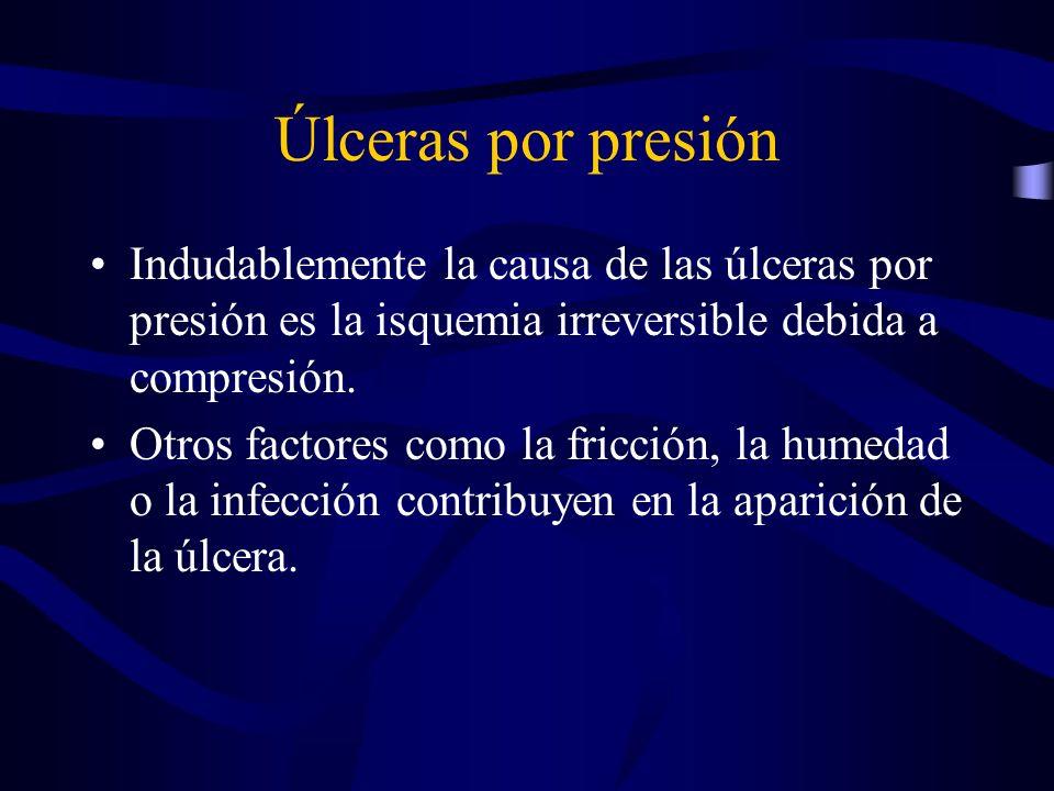 Úlceras por presión Indudablemente la causa de las úlceras por presión es la isquemia irreversible debida a compresión.