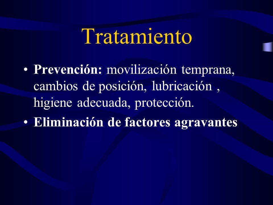 Tratamiento Prevención: movilización temprana, cambios de posición, lubricación , higiene adecuada, protección.