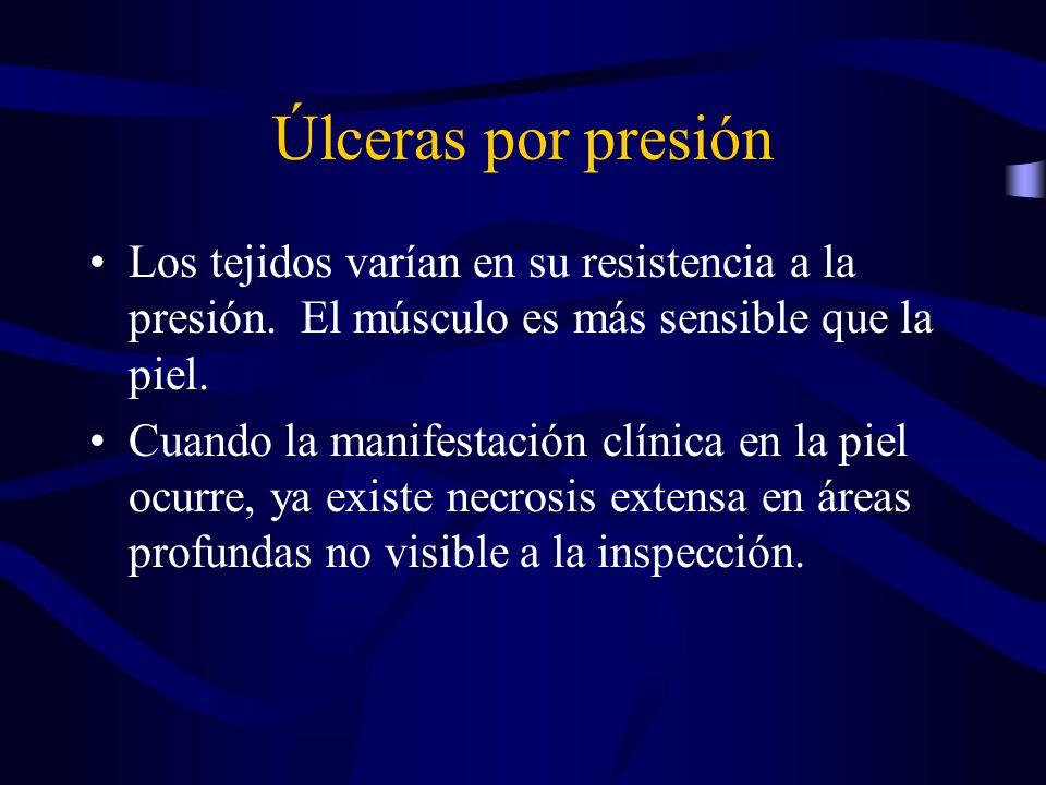 Úlceras por presión Los tejidos varían en su resistencia a la presión. El músculo es más sensible que la piel.