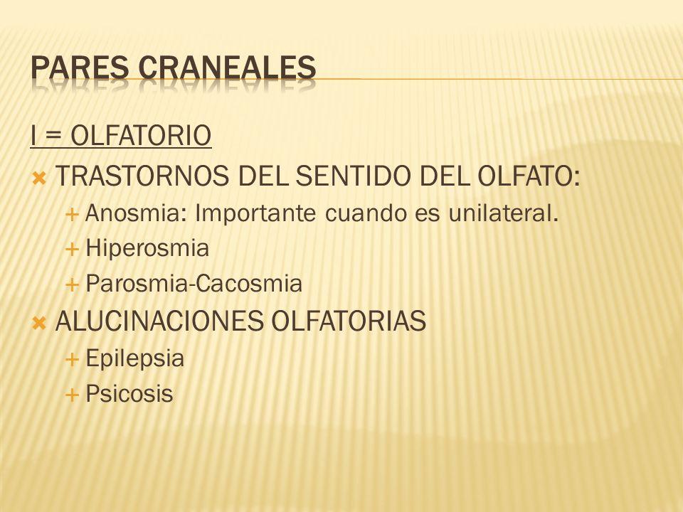 PARES CRANEALES I = OLFATORIO TRASTORNOS DEL SENTIDO DEL OLFATO: