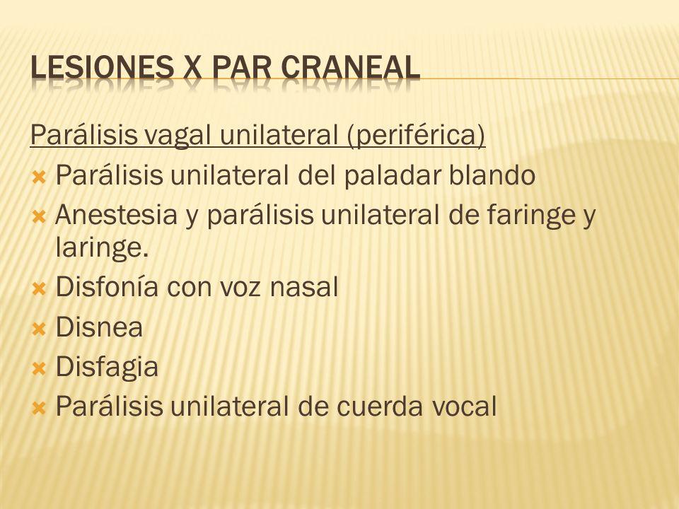 LESIONES X PAR CRANEAL Parálisis vagal unilateral (periférica)