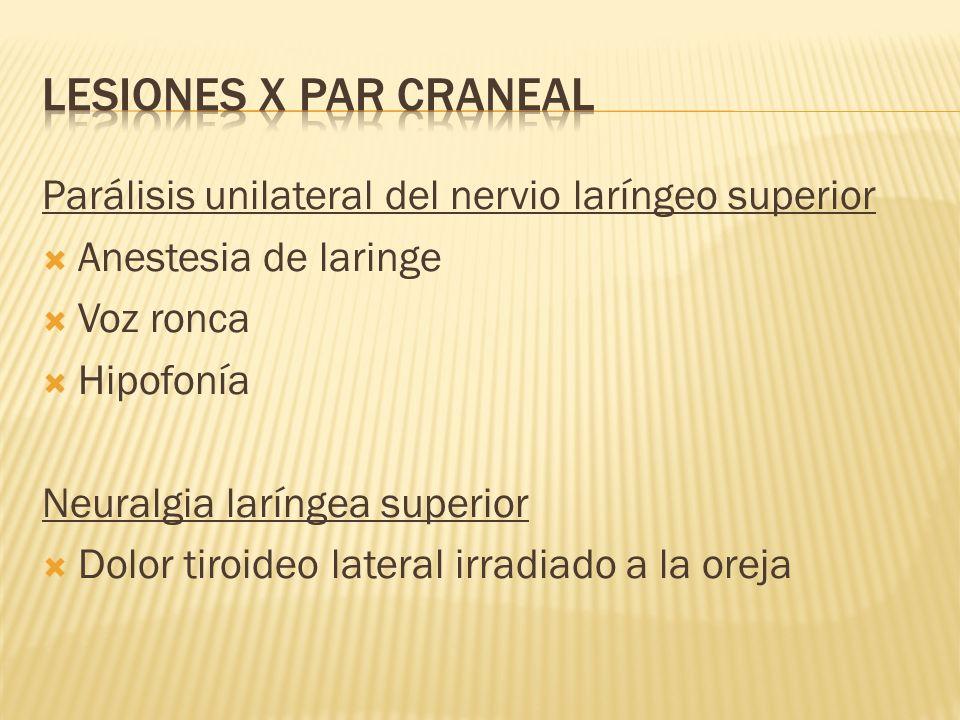 LESIONES X PAR CRANEAL Parálisis unilateral del nervio laríngeo superior. Anestesia de laringe. Voz ronca.