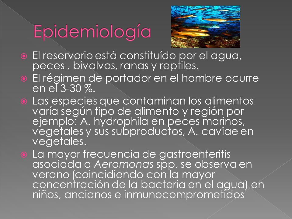 Epidemiología El reservorio está constituído por el agua, peces , bivalvos, ranas y reptiles.