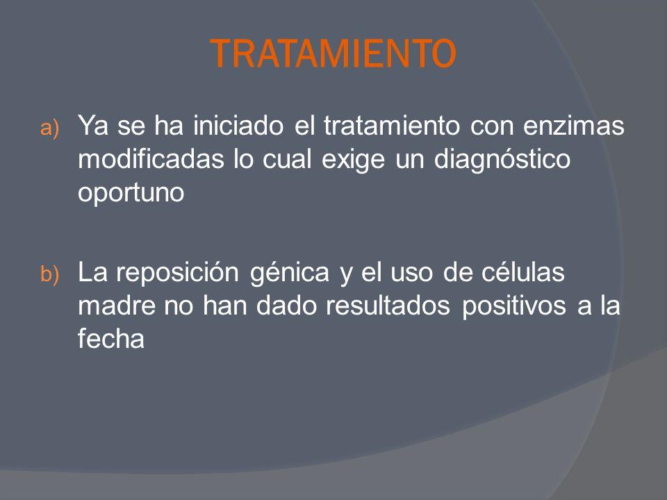 TRATAMIENTOYa se ha iniciado el tratamiento con enzimas modificadas lo cual exige un diagnóstico oportuno.
