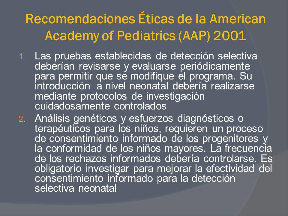 Recomendaciones Éticas de la American Academy of Pediatrics (AAP) 2001