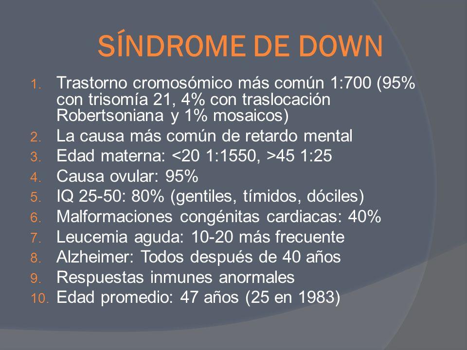 SÍNDROME DE DOWN Trastorno cromosómico más común 1:700 (95% con trisomía 21, 4% con traslocación Robertsoniana y 1% mosaicos)