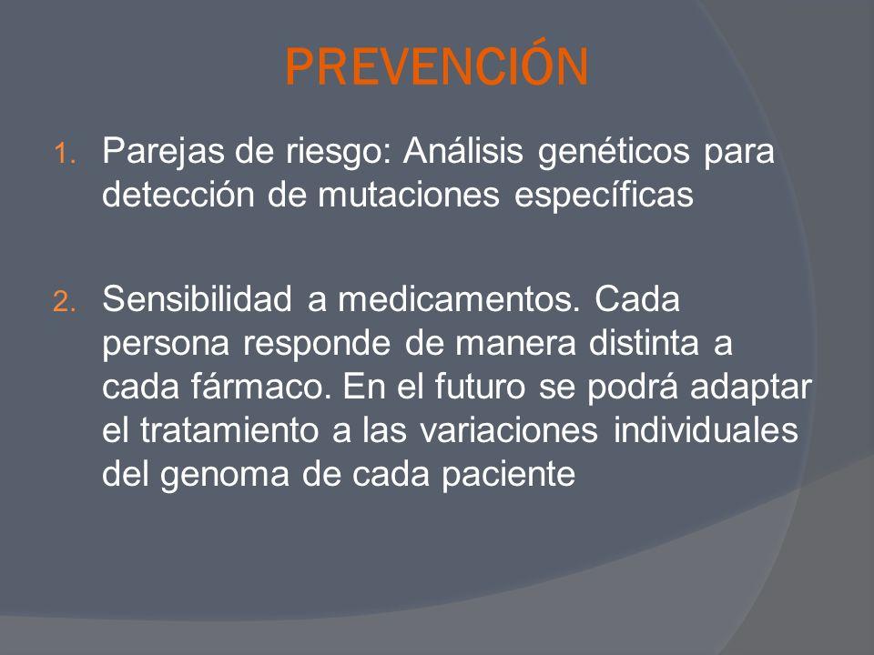 PREVENCIÓNParejas de riesgo: Análisis genéticos para detección de mutaciones específicas.