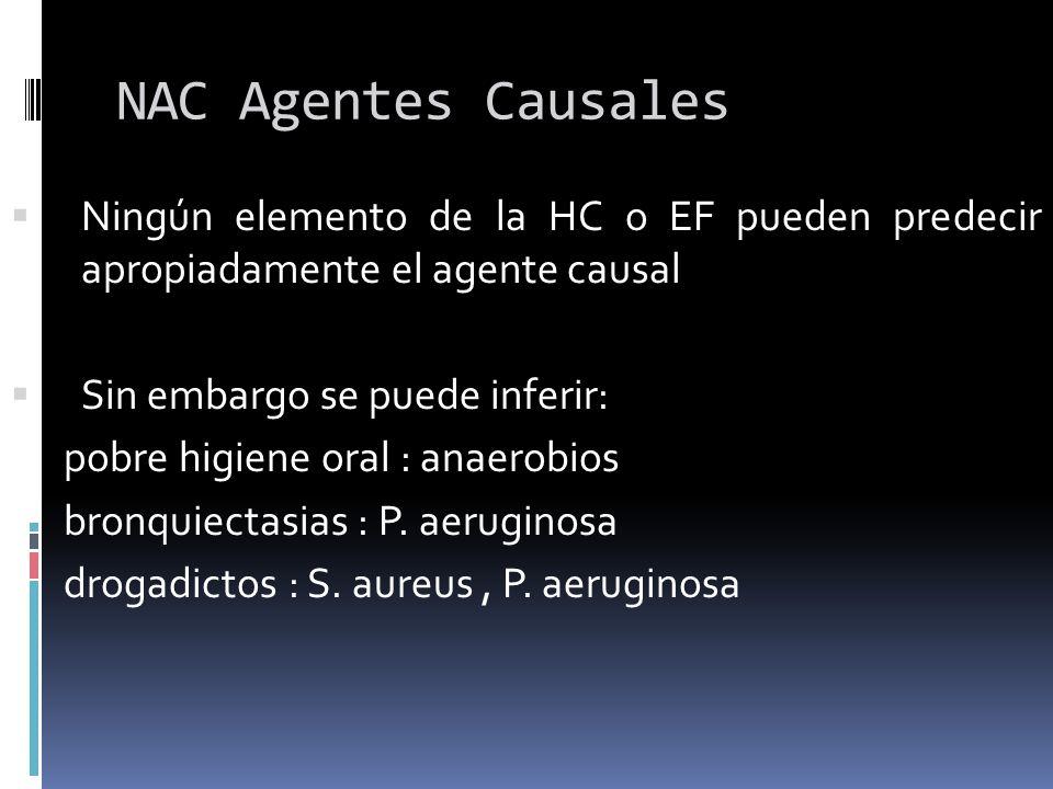 NAC Agentes CausalesNingún elemento de la HC o EF pueden predecir apropiadamente el agente causal.