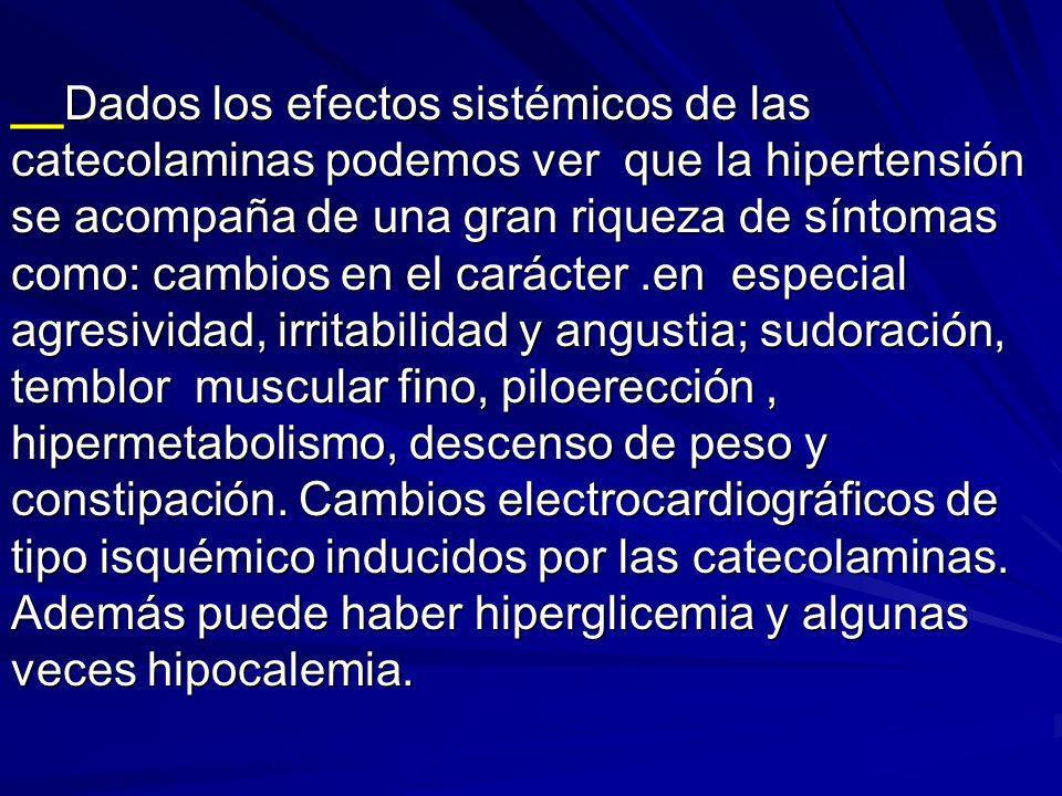 __Dados los efectos sistémicos de las catecolaminas podemos ver que la hipertensión se acompaña de una gran riqueza de síntomas como: cambios en el carácter .en especial agresividad, irritabilidad y angustia; sudoración, temblor muscular fino, piloerección , hipermetabolismo, descenso de peso y constipación.
