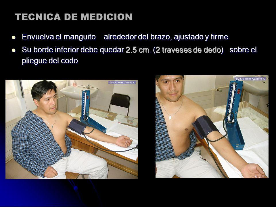 TECNICA DE MEDICION Envuelva el manguito alrededor del brazo, ajustado y firme.