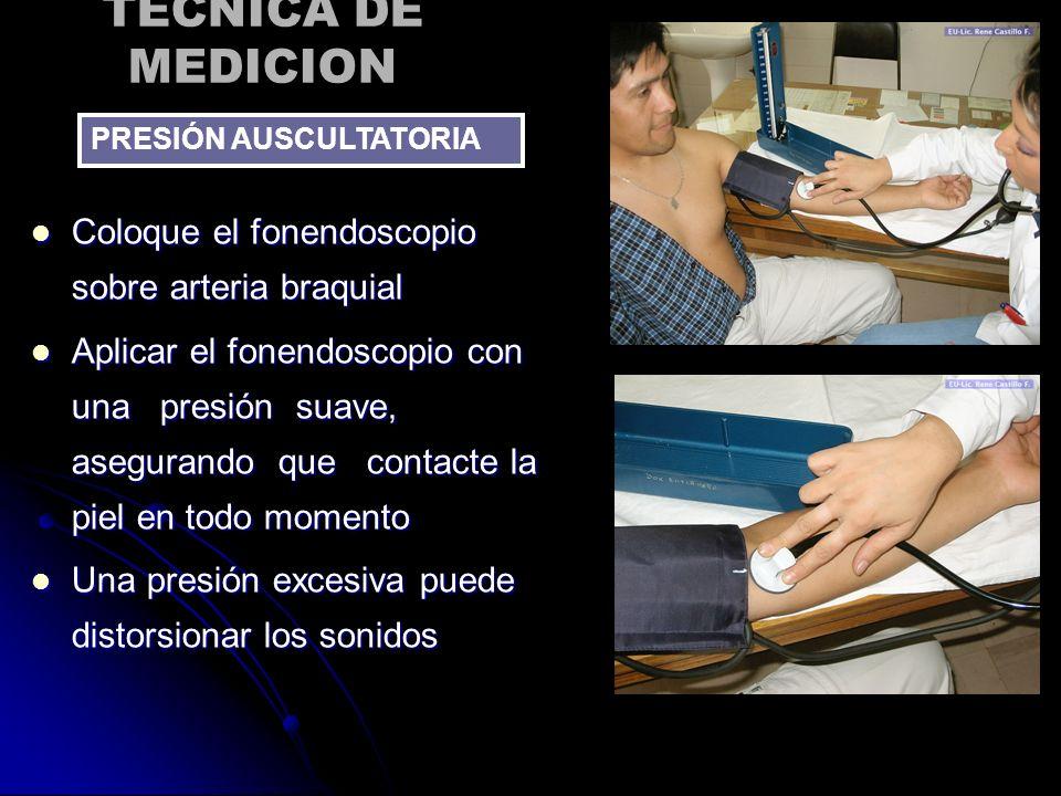 TECNICA DE MEDICION Coloque el fonendoscopio sobre arteria braquial