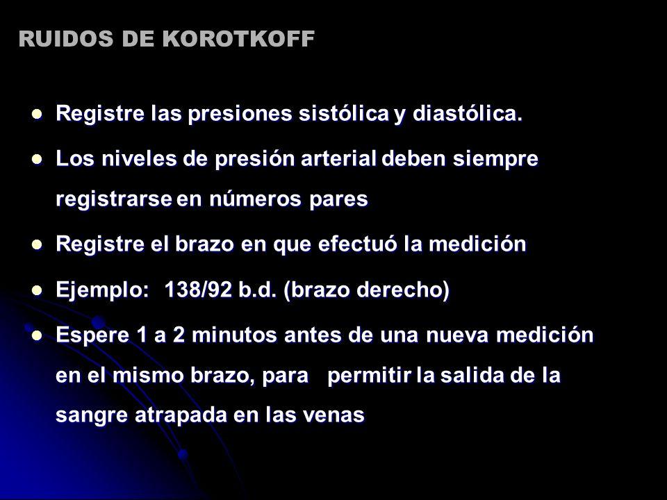 RUIDOS DE KOROTKOFF Registre las presiones sistólica y diastólica. Los niveles de presión arterial deben siempre registrarse en números pares.