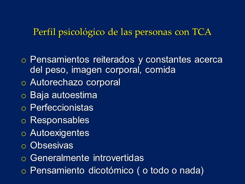 Perfil psicológico de las personas con TCA