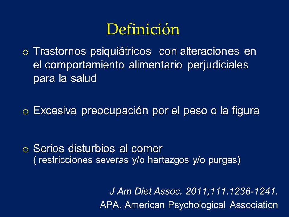 Definición Trastornos psiquiátricos con alteraciones en el comportamiento alimentario perjudiciales para la salud.