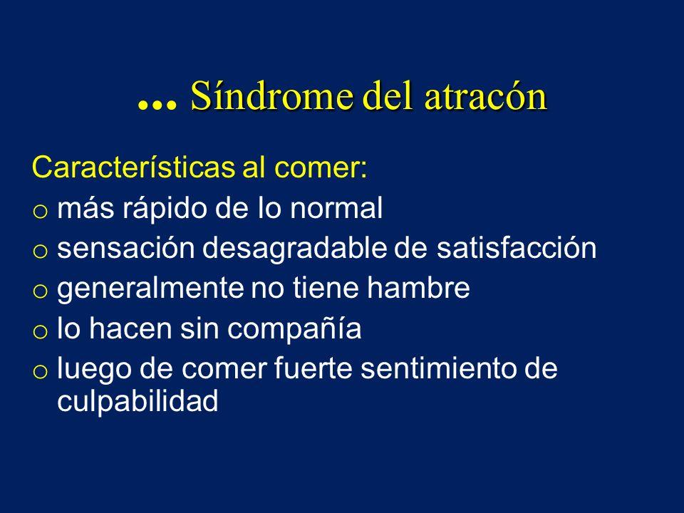 ... Síndrome del atracón Características al comer: