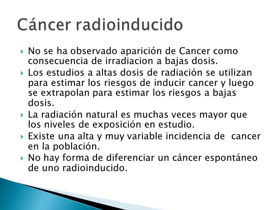 Cáncer radioinducido No se ha observado aparición de Cancer como consecuencia de irradiacion a bajas dosis.