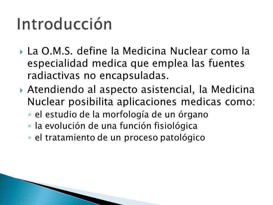 Introducción La O.M.S. define la Medicina Nuclear como la especialidad medica que emplea las fuentes radiactivas no encapsuladas.
