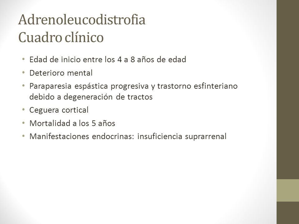 Adrenoleucodistrofia Cuadro clínico