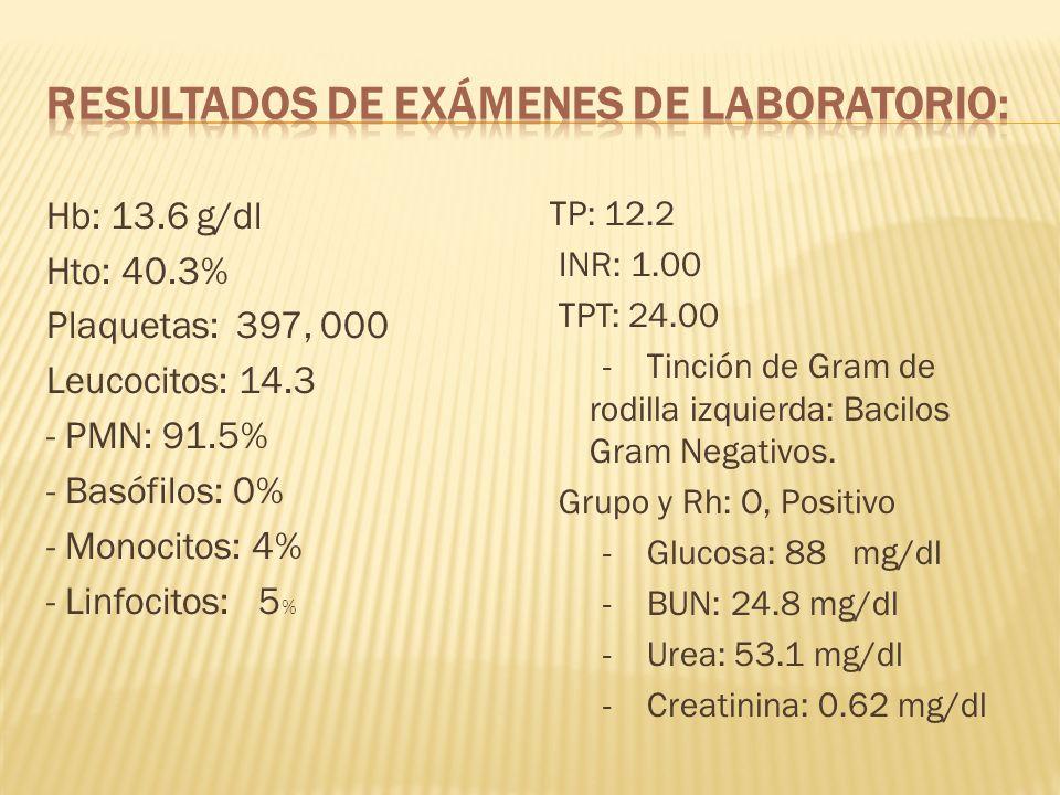 Resultados de exámenes de laboratorio: