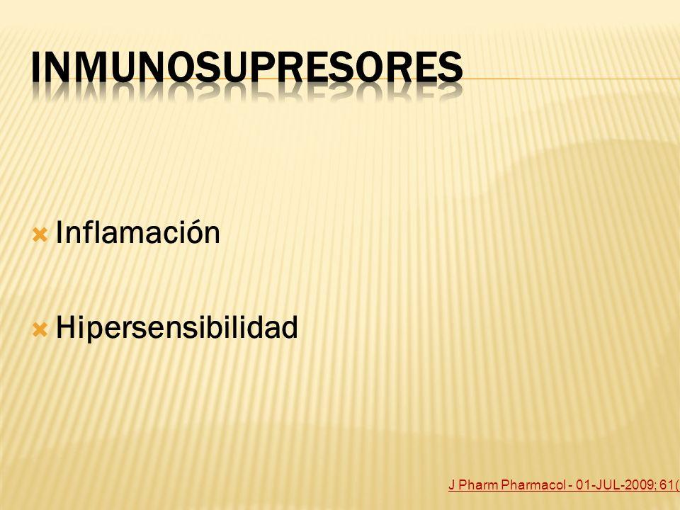 Inmunosupresores Inflamación Hipersensibilidad