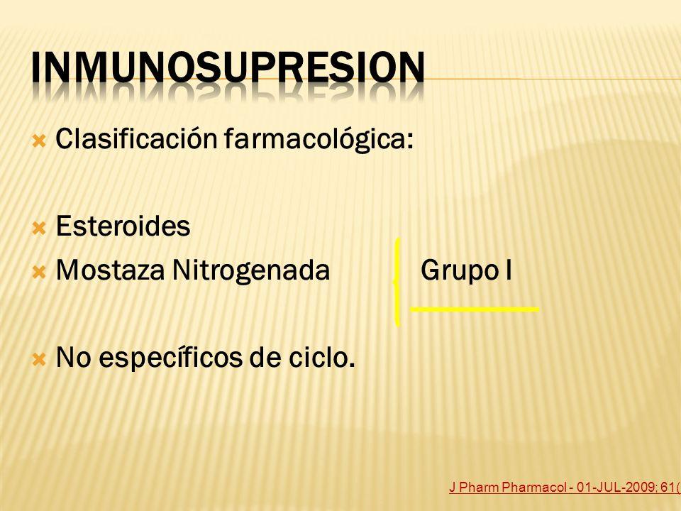 Inmunosupresion Clasificación farmacológica: Esteroides