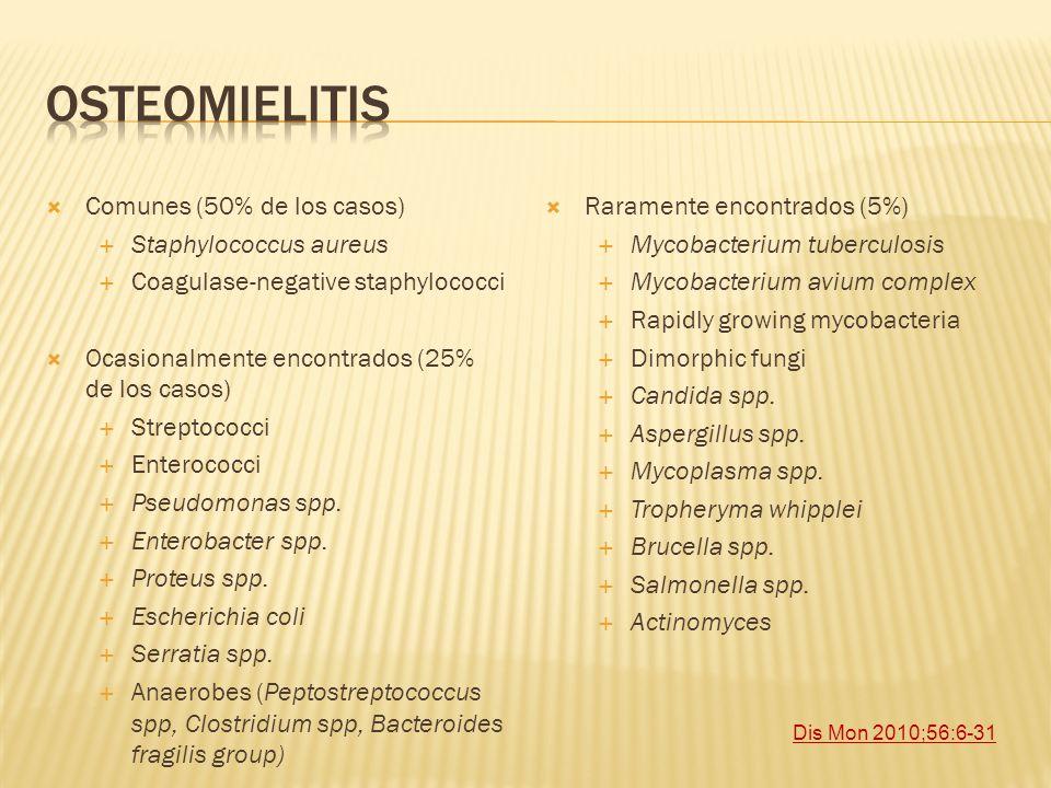 Osteomielitis Comunes (50% de los casos) Staphylococcus aureus