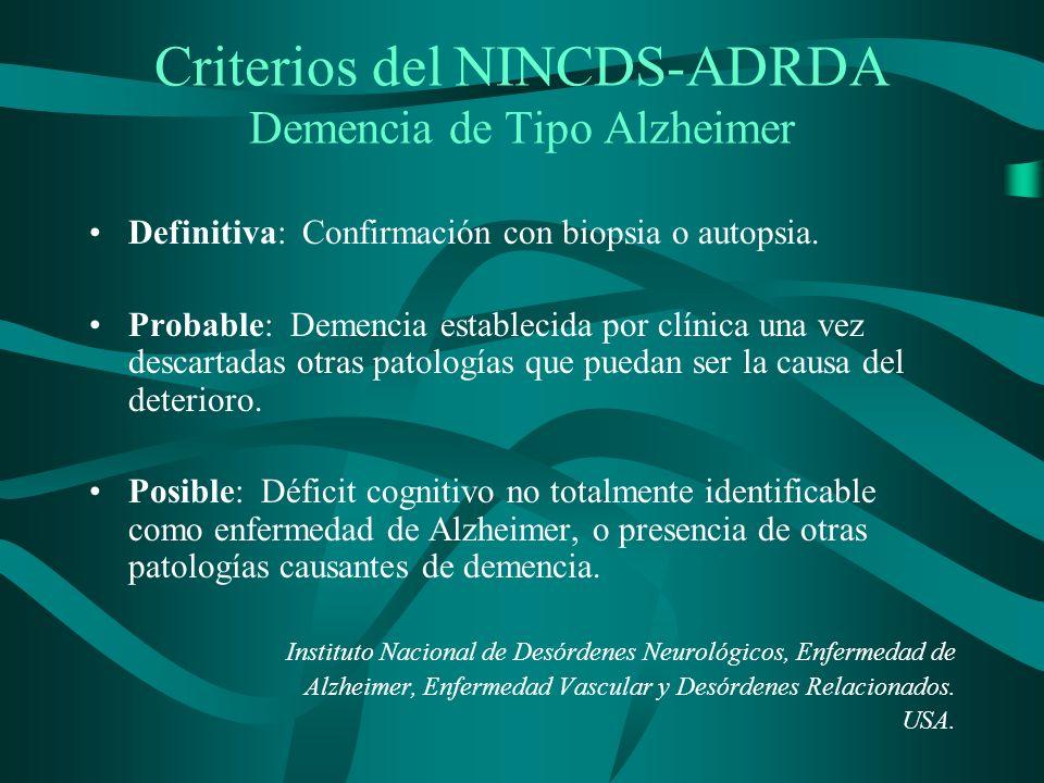 Criterios del NINCDS-ADRDA Demencia de Tipo Alzheimer