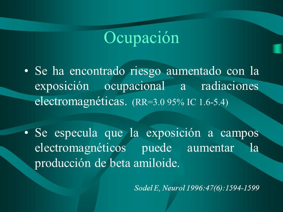 Ocupación Se ha encontrado riesgo aumentado con la exposición ocupacional a radiaciones electromagnéticas. (RR=3.0 95% IC 1.6-5.4)