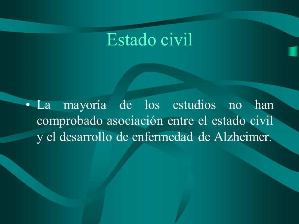 Estado civilLa mayoría de los estudios no han comprobado asociación entre el estado civil y el desarrollo de enfermedad de Alzheimer.