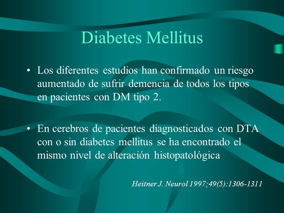 Diabetes MellitusLos diferentes estudios han confirmado un riesgo aumentado de sufrir demencia de todos los tipos en pacientes con DM tipo 2.