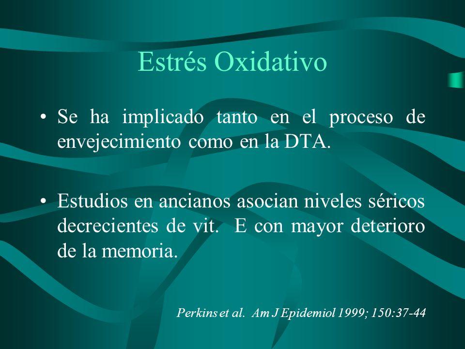 Estrés Oxidativo Se ha implicado tanto en el proceso de envejecimiento como en la DTA.