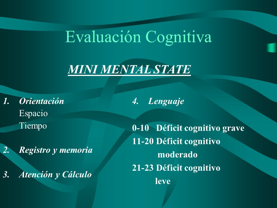 Evaluación Cognitiva MINI MENTAL STATE Lenguaje Orientación Espacio