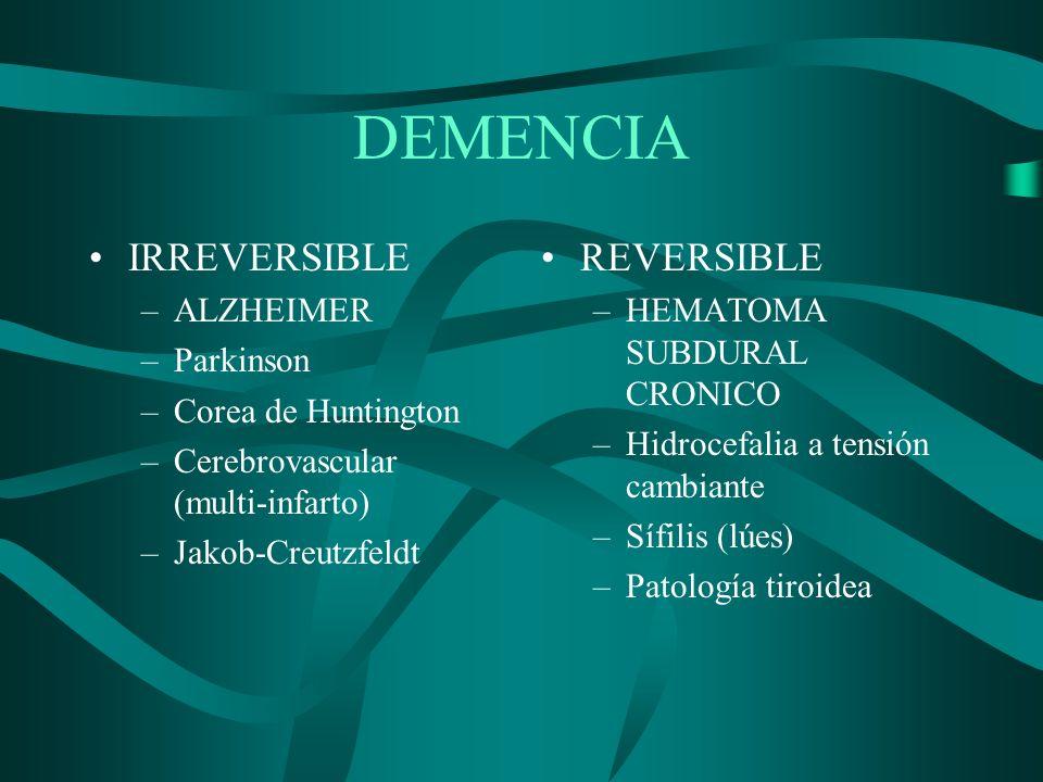 DEMENCIA IRREVERSIBLE REVERSIBLE ALZHEIMER Parkinson