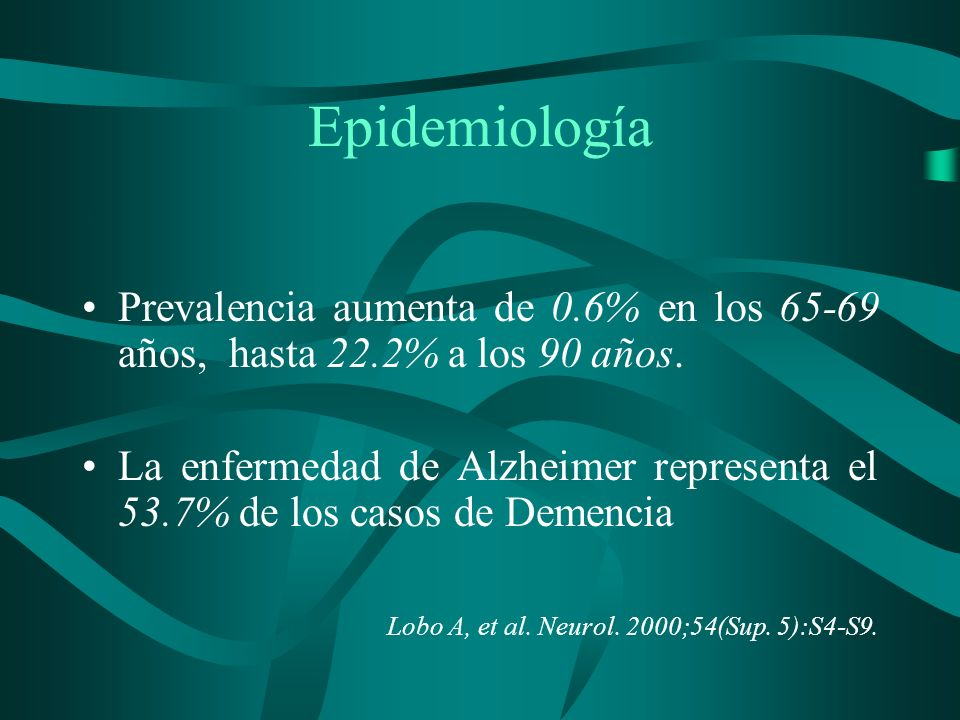 Epidemiología Prevalencia aumenta de 0.6% en los 65-69 años, hasta 22.2% a los 90 años.