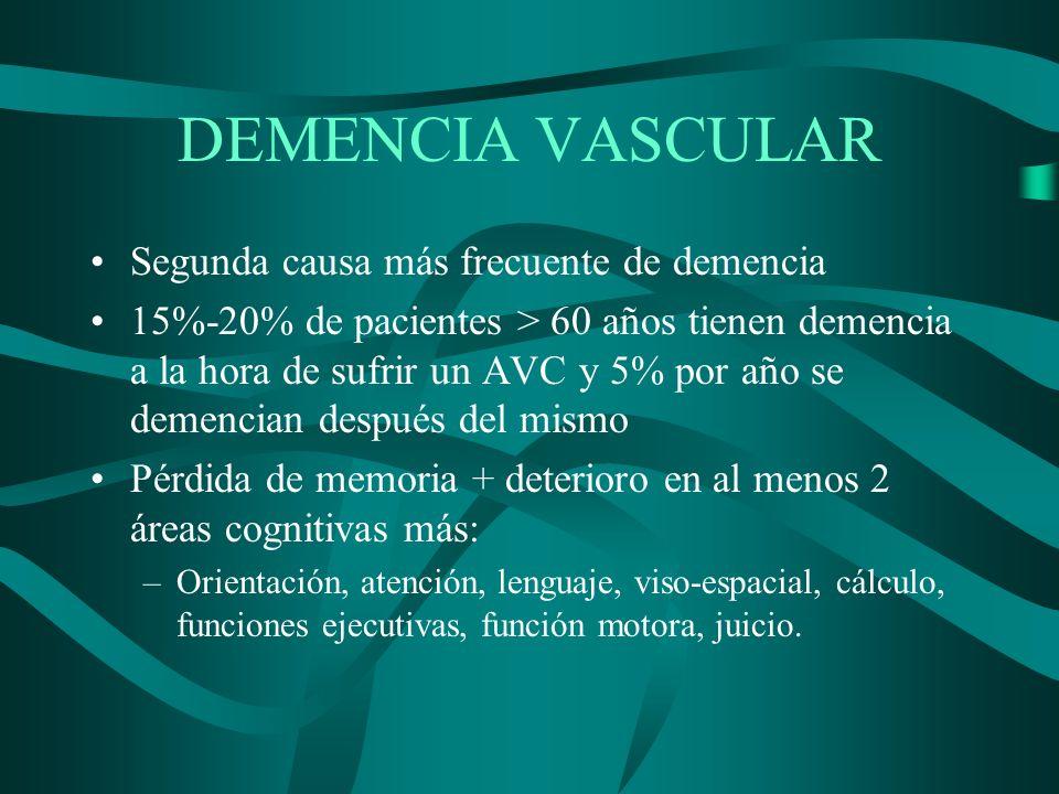 DEMENCIA VASCULAR Segunda causa más frecuente de demencia